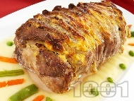 Рецепта Вкусно пълнено свинско контрафиле (филе) ветрило с пушено сирене и горчица печено на фурна под фолио